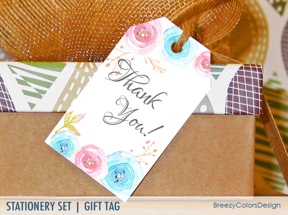Hochzeit Blumen Geschenkkarte zum ausdrucken danke Tags | Etsy