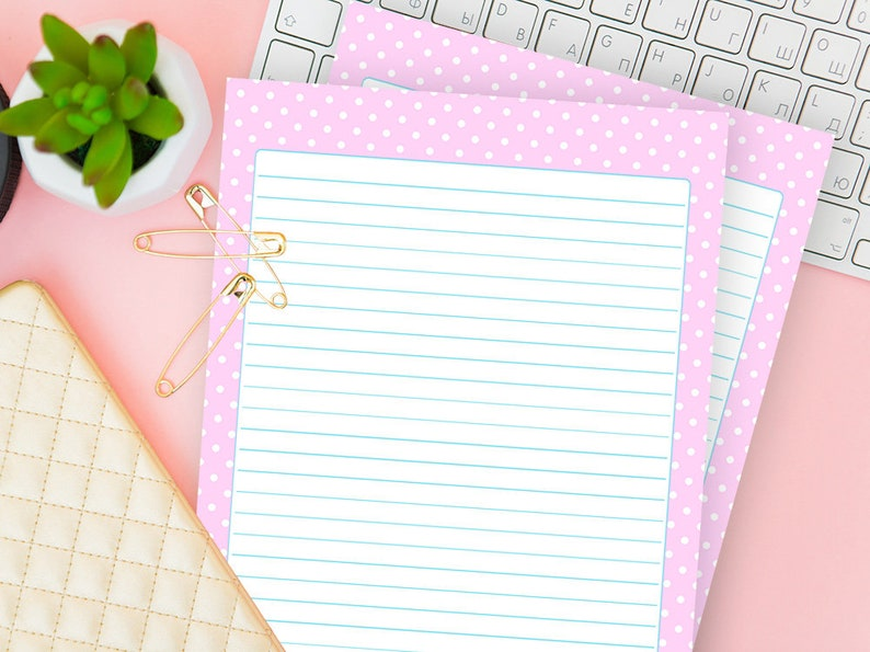 image about Printable Notebook Paper called Laptop Paper Template, Printable Producing For Letter, Notepaper Protected and Blank, Pinky Stationery Magazine Notes Obtain, For Women of all ages Woman