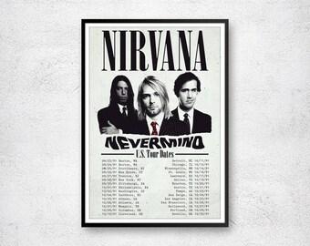 Nirvana Print Kurt Cobain Art Poster Tour Band Concert