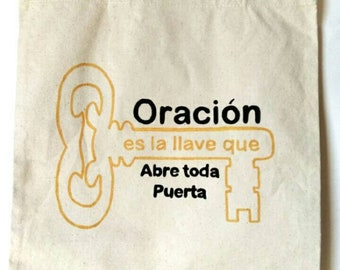 Hand-painted Tote Bag/ available in English and Spanish.