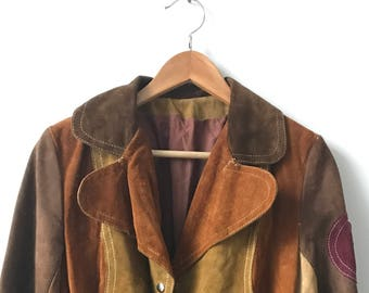 1970s Patchwork Mod Suede Snap Button Belted Jacket
