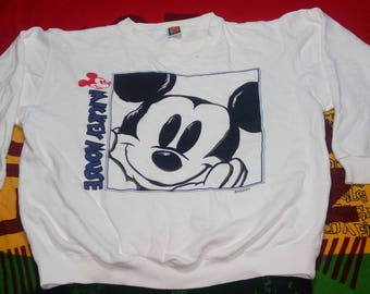 RARE!!! Vintage Mickey Mouse White Sweatshirt Pull Over Big Printing