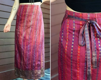 36ffb68fde851 Bohemian Women's Red Purple Wrap Maxi Skirt / One Size Adjustable /  Shimmery Indian Sari Inspired Ethnic Beautiful / High Waisted Long Skirt