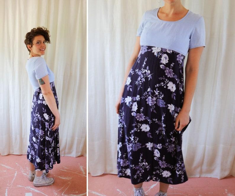 Denim Floral Sundress Size 56  Light Wash Bodice Flower Print Skirt Maxi Dress Tee Silhouette  Grunge 90s Hipster Cute Fun Summer