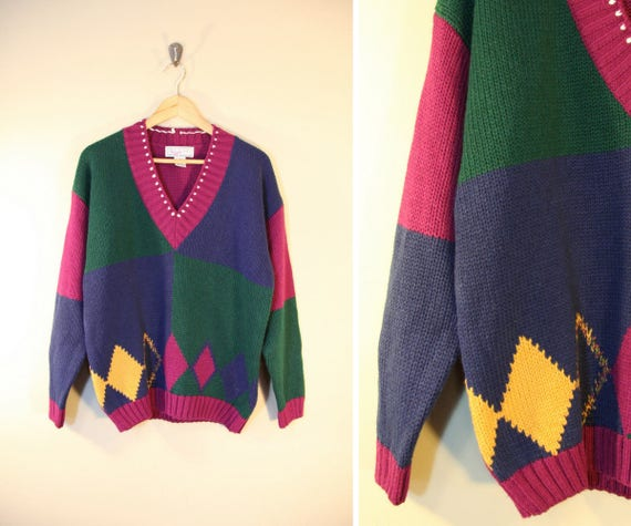 3bdd7356b0601b Vintage 80 s Colorful Sweater   Color Block Diamonds