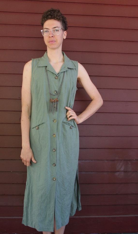 Women's Green Linen Maxi Dress Button Up with Pockets & Collar Size 10 Medium Large Simple Minimal Summer Linen Rayon Vegan Friendly