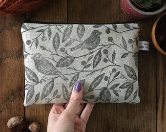 Lined Zip Coin Purse Rough Diamonds  Hand Printed Linen Zipper Pouch brown oatmeal one of a kind OOAK lino block print textile