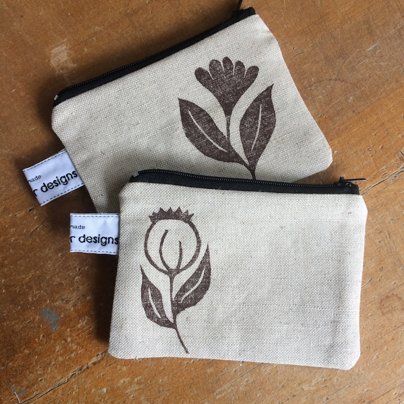 card holder linen accessory Wildflower coin purse gifts for women zipped pouch hand printed purses for women bags /& purses