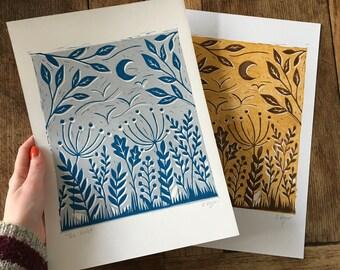 Original 'The wild' lino print   A4 prints   wild flowers   wall decor   home decor   home & living   botanical   seed heads