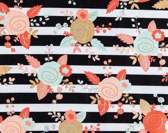 Black, White, Mint & Blush Piper Floral Minky Baby Blanket