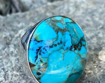 Vintage D. T. Round Turquoise Ring
