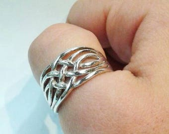 Vintage Braided Sterling Silver Ring