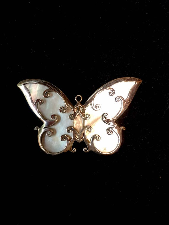 Vintage Butterfly Mother of Pearl Pendant