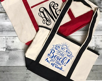 On My Way to the Beach Tote Bag | Work Tote, Beach Theme gift, Cruise Tote, Vacation Tote, Reusable Grocery Bag, Beach Vacation, Boat Tote