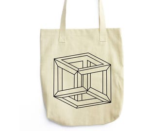 Mobius Cube optical illusion tote bag