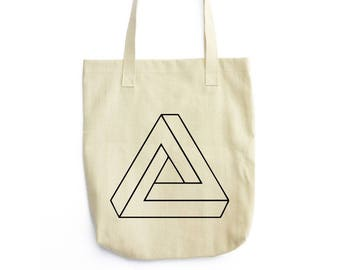 Penrose Triangle Illusion art tote bag