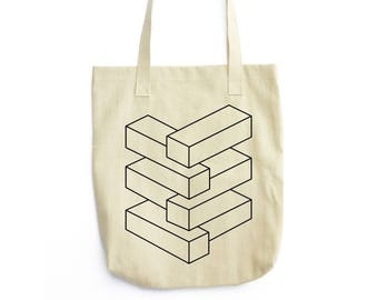 Endless Stack optical illusion tote bag