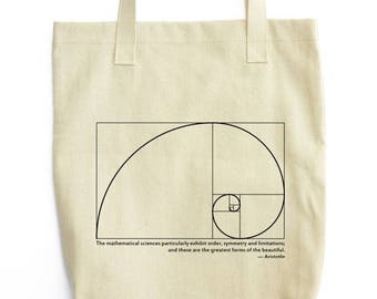 Fibonacci Spiral and Aristotle tote bag