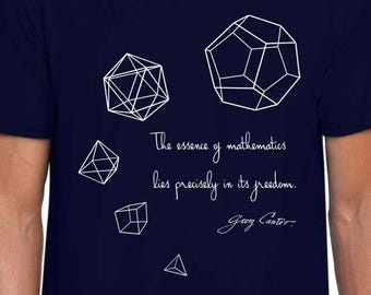 Five Platonic Solids math art t shirt