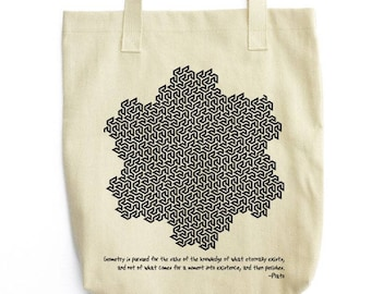 Plato and Gosper Curve science tote bag