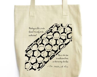 Marie Curie and Carbon Nanotube tote bag