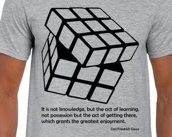 Gauss Quote and Rubik's Cube art tshirt