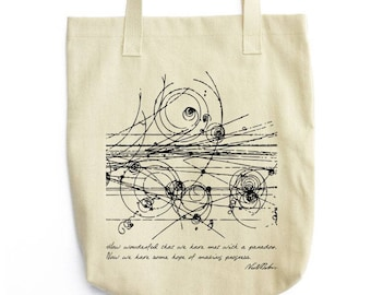 Bohr and Particles Collision tote bag