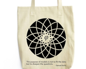 Karlin and Fibonacci Flower art tote bag