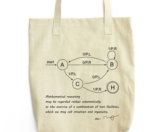 Turing Machine and Quote tote bag