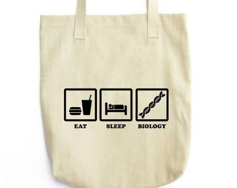 Eat Sleep Biology funny tote bag