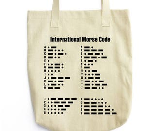 The Morse Code serious art tote bag