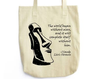 Lévi-Strauss and Moai Statue tote bag