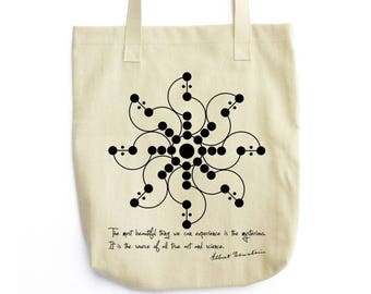Einstein Quote and Crop Field tote bag