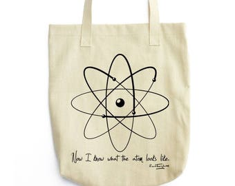 Rutherford and Model of Atom tote bag