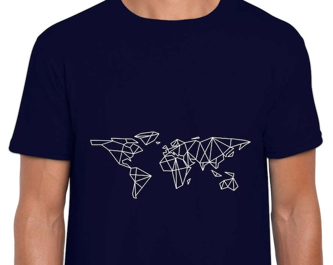 Featured listing image: Minimal Geometric World Map art t shirt