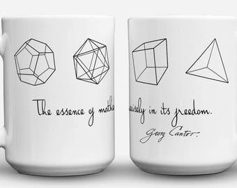 Five Platonic Solids coffee mug