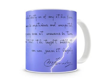Faraday Quote and Lightning cool mug