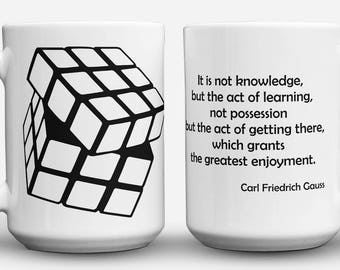 Gauss Quote and Rubik's Cube mug