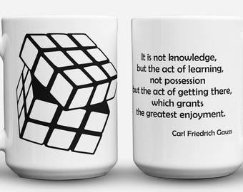 Gauss Quote and Rubik's Cube mug
