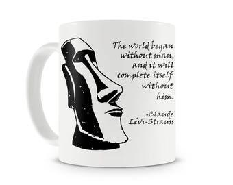Lévi-Strauss and Moai Statue mug