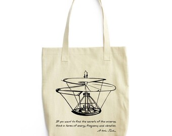 Tesla's Quote science art tote bag