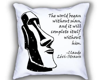 Lévi-Strauss and Moai Statue pillows