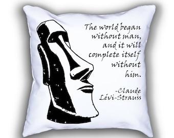 Lévi-Strauss and Moai Statue pillows