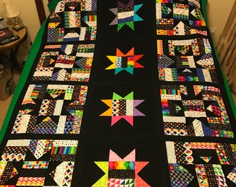 Black/Colorful Star quilt