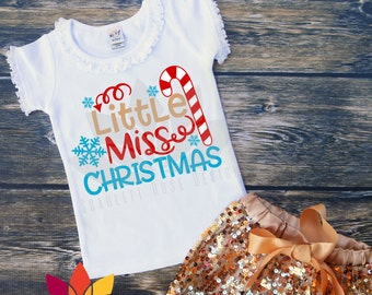 Christmas SVG, Little Miss Christmas, Candy Cane, Snowflake cut file for silhouette cameo and cricut