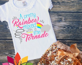 Pretty Rainbow mixed with A little Tornado SVG, DXF, Summer, Little Miss, Girl Shirt, Rainbow Baby Shirt cut file, silhouette cameo, cricut