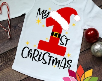 Christmas SVG, DXF, My Firt Christmas, Santa Claus, 1st, Baby Shirt cut file for silhouette cameo and cricut