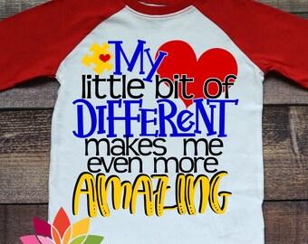 Autism SVG, Puzzle Piece, Autism Awareness, Different makes me amazing, Autism shirt, Autistic design cut file, silhouette cameo, cricut