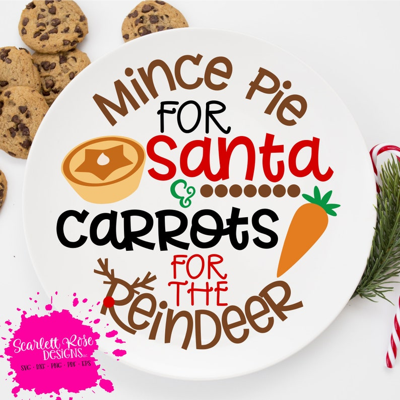 Christmas Cookie Plate Svg Cut File Design Mince Pie For Santa And Carrots For The Reindeer Cut File For Silhouette Cameo And Cricut