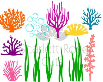 Under the Sea, seaweed, Coral, Bubbles SVG, ocean life for silhouette cameo and cricut